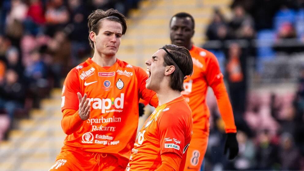 AFC Eskilstunas Adi Nalic jublar efter 3-1-målet mot IFK Göteborg.
