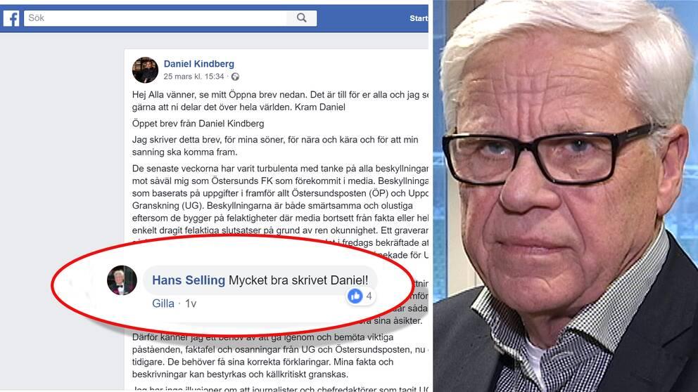 Bild på facebooksidan med Sellings kommentar plus ett porträtt på Hans Selling.