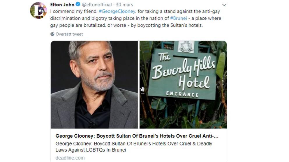 Elton Johns twitterflöde med bild på Geroge Clooney och ett Brunei-drivet hotell.