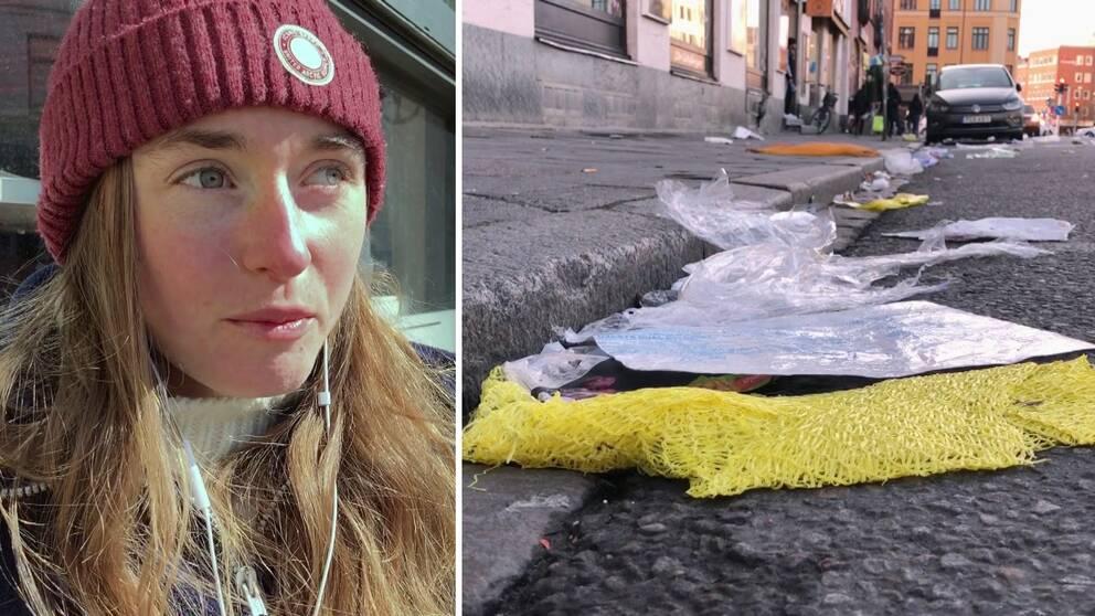 Bianca Bergman bor i området och ser skräpet ofta.
