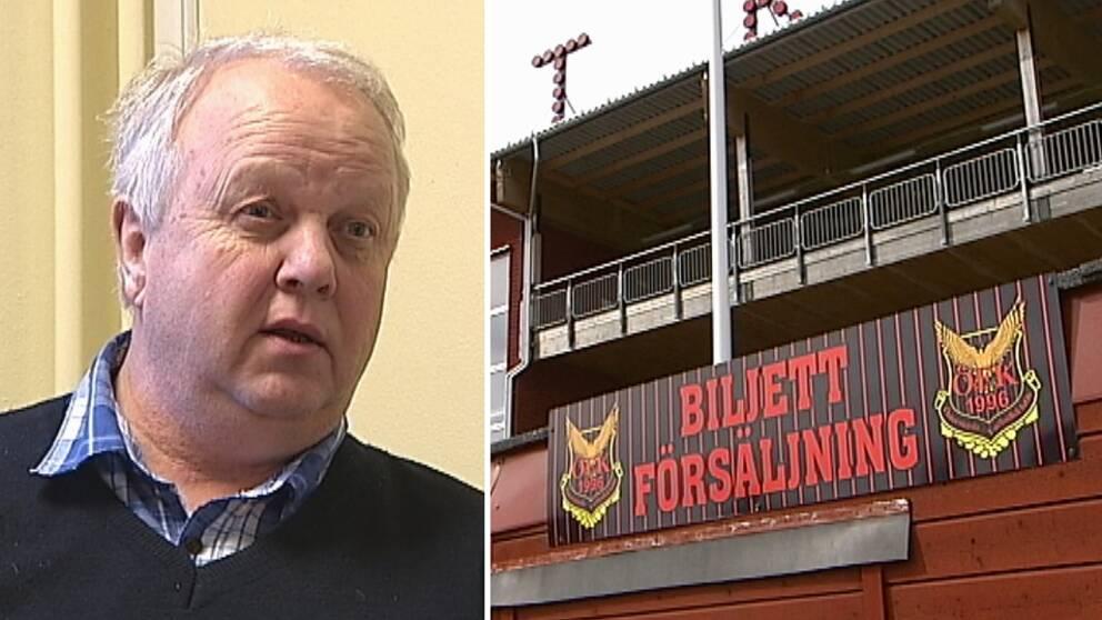 nära bild på Bo Ottosson – en medelålders man, samt vy över byggnad vid ÖFK:s arena