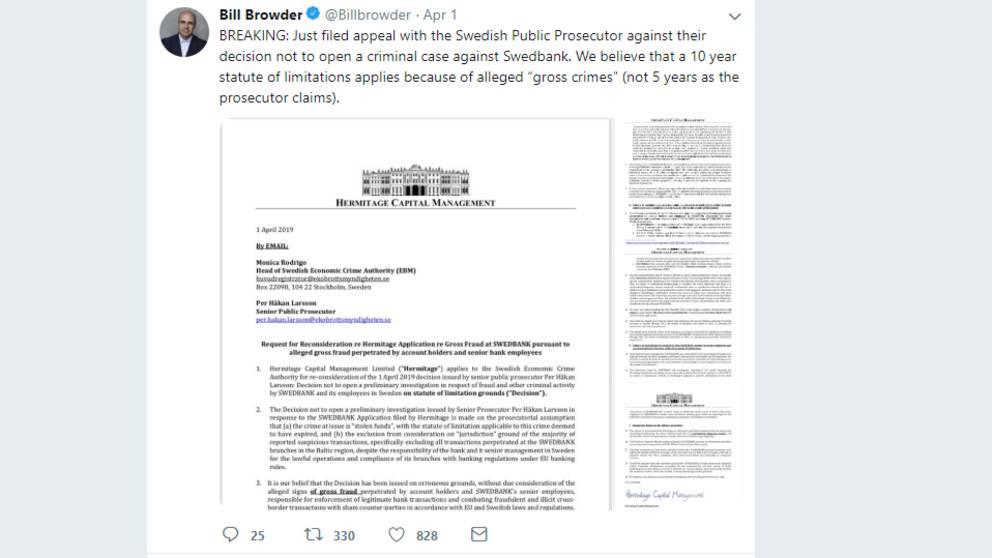 Bill Browders tweet.