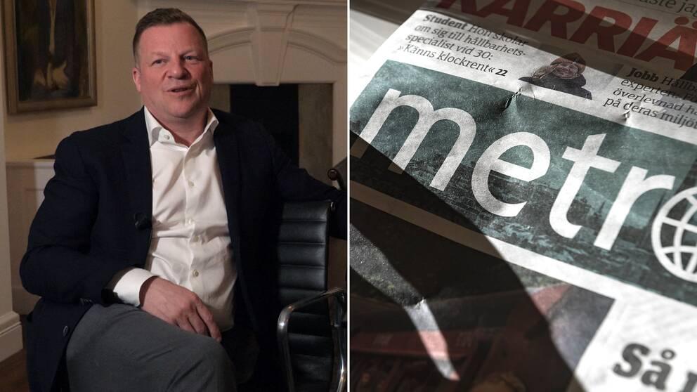 Christen Ager-Hansen och en Metro-tidning