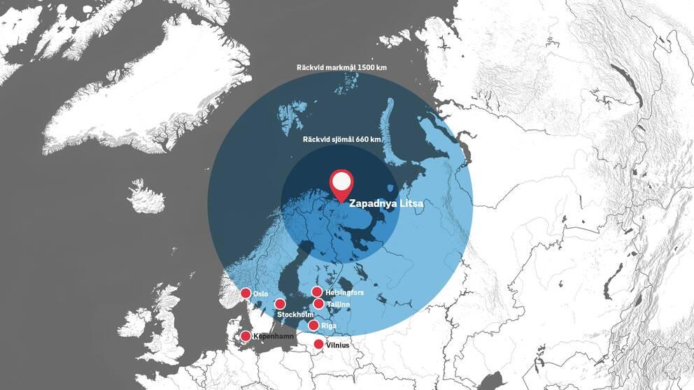 Ryska kryssningsroboten Kalibr har olika räckvidder beroende på om den ska avfyras mot fasta mål på land eller rörliga mål till havs.