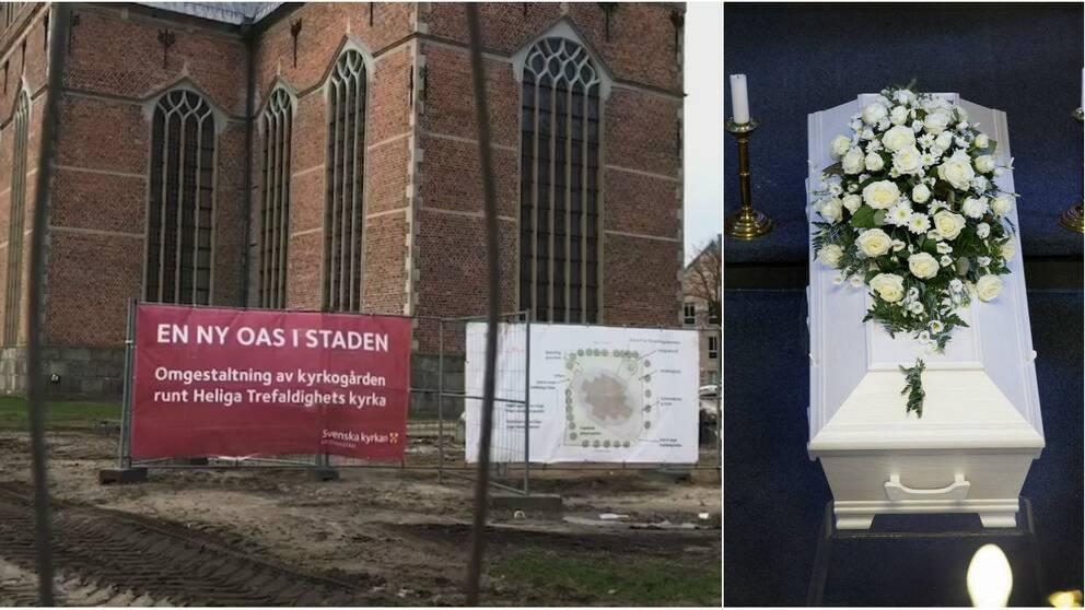 Bilden visar bygget utanför kyrkan och en skylt där det står en ny oas i staden.