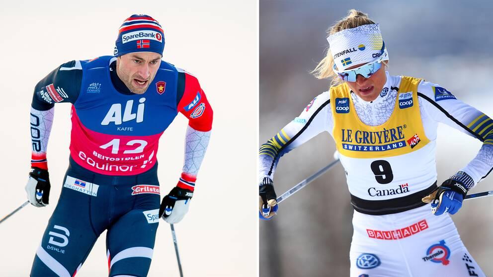 Petter Northug och Frida Karlsson möter varandra.
