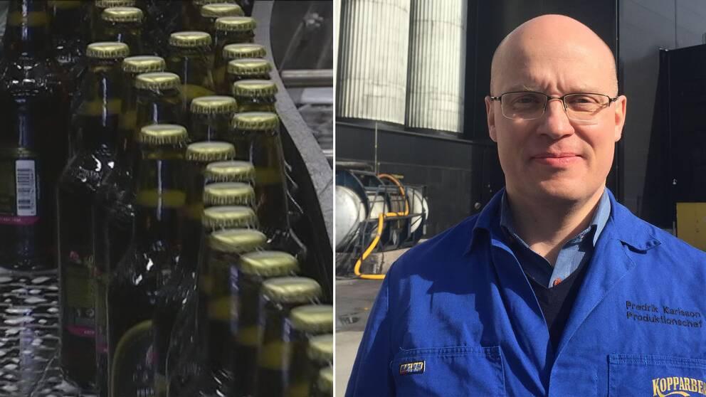 Fredrik Karlsson, produktionschef på Kopparbergs bryggeri.Till vänster en bild på ciderflaskor.