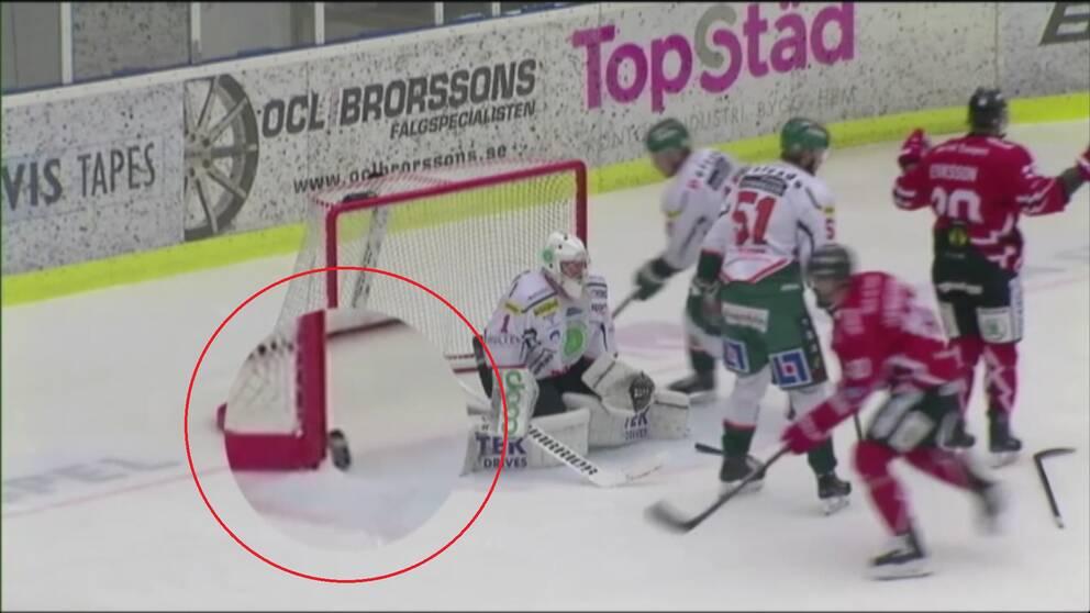 Ett mål av Vita Hästen mot Kristianstad i kvalet till Hockeyallsvenskan godkändes trots att pucken aldrig var över mållinjen.