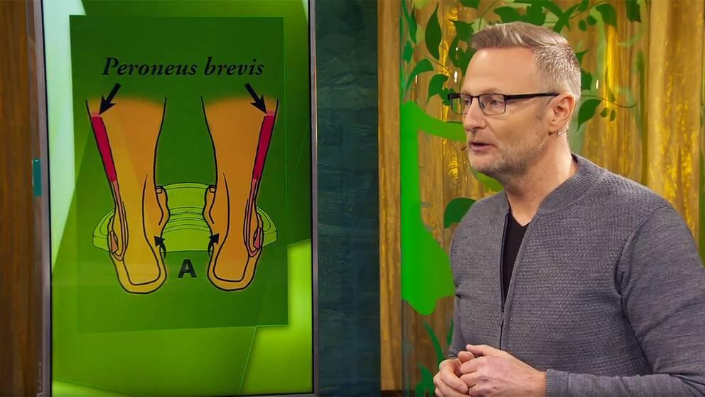 Sjukgymnasten Per Jonsson visar musklerna i foten som tränas med barfota tåhävningar.