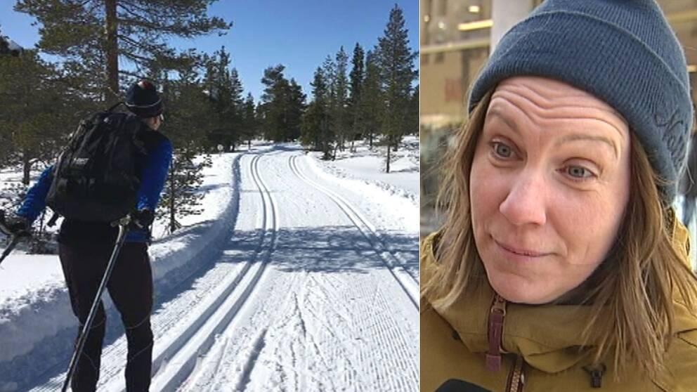 Man åker skidor i skidspår, snö och sol, intervjubild på kvinna i mössa