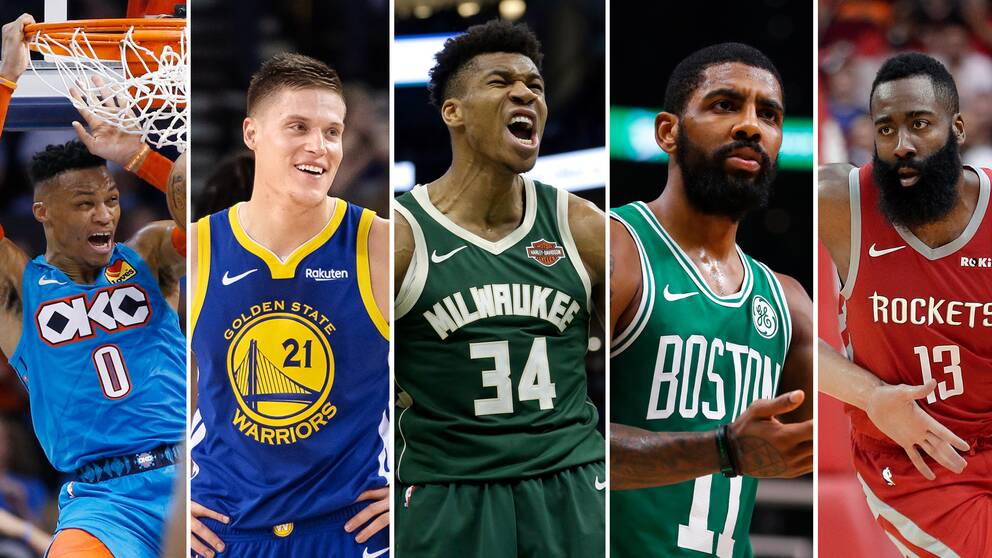 Från vänster: Russell Westbrook (Oklahoma), Jonas Jerebko (Golden State), Giannis Antetokounmpo (Milwaukee), Kyrie Irving (Boston), James Harden (Houston).