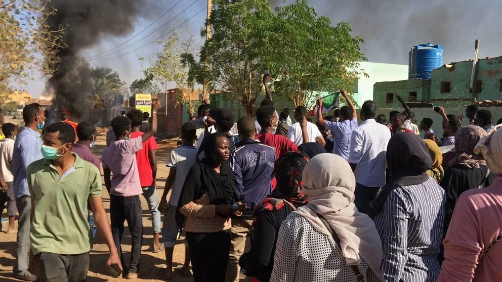 Protester mot regeringen i Khartum i januari i år. Arkivbild.