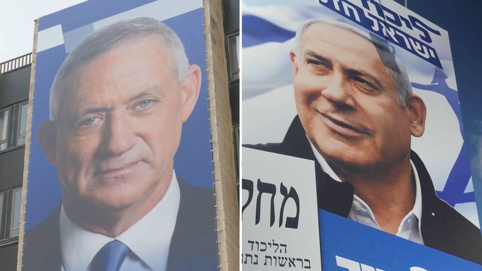 """Benny Gantz, ledaren för den """"Blåvita alliansen"""", tar sig an Benjamin Netanyahu, premiärminister och partiledare för Likud, i tisdagens val i Israel."""
