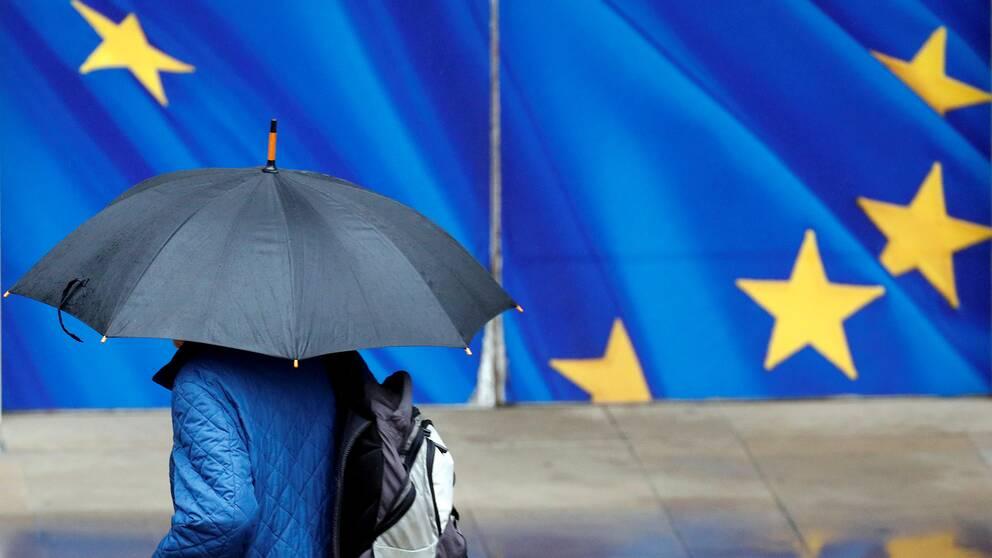 En man med paraply går för en EU-flagga.