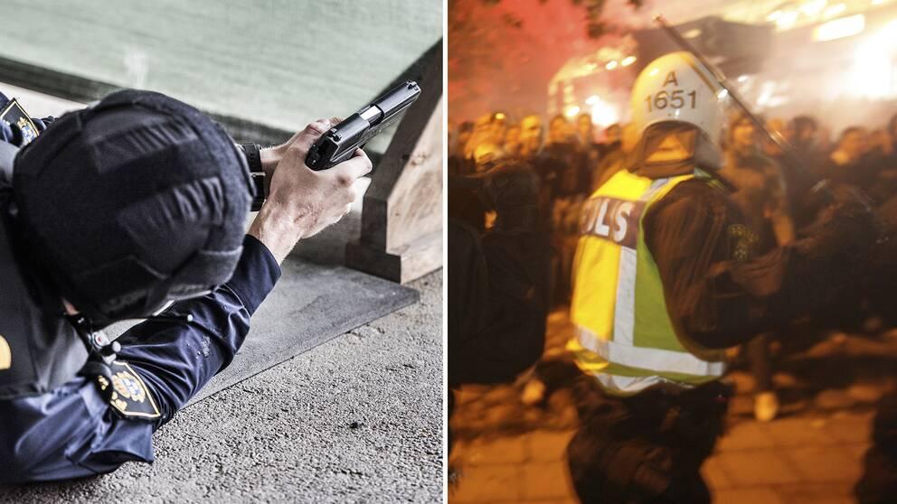En polis med draget vapen och en polis med en batong.