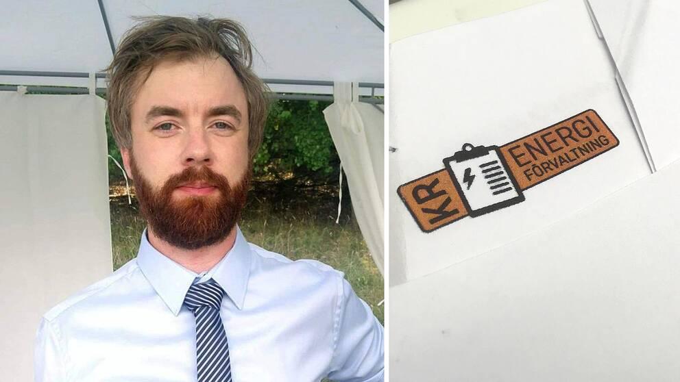 En man i blå skjorta och slips. Till höger i infälld bild, en orange företagslogga.