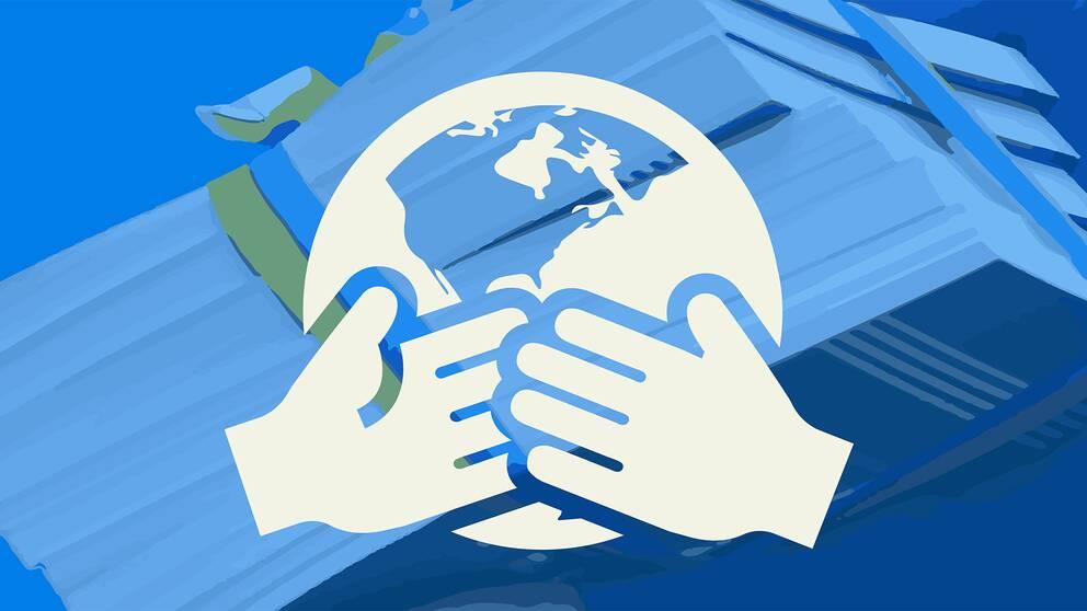 En tecknad bild som föreställer två händer som möts framför ett jordklot