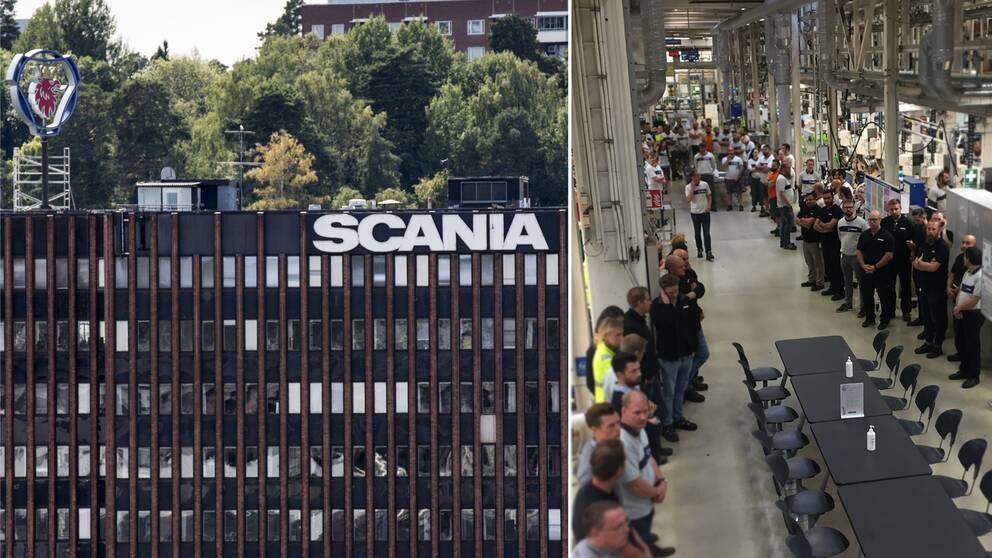 Scania i Södertälje. En tyst minut hålls efter dödsolyckan.