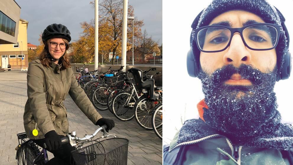 Maria Wikenståhl trafikingenjör på Södertälje kommun sitter på en cykel utanför stadshuset. Jacob Atas är ute när det snöar.