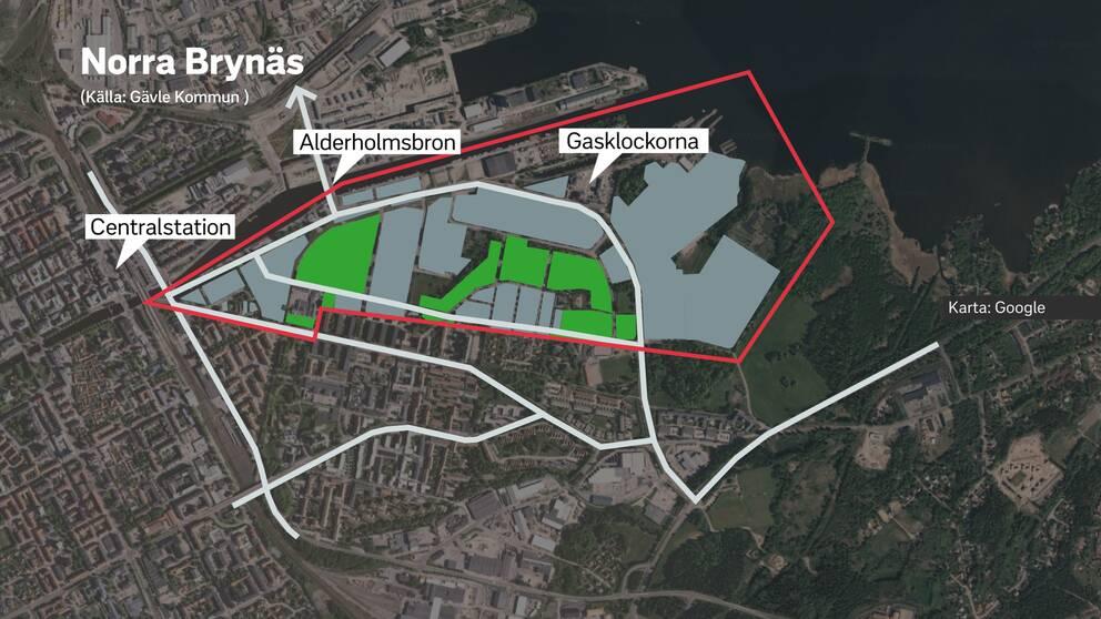 Karta över Norra Brynäs