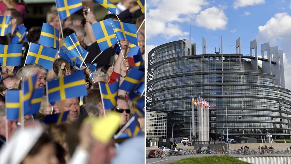 Nationaldagsfirare på Skansen i Stockholm och EU-parlamentet i Strasbourg.