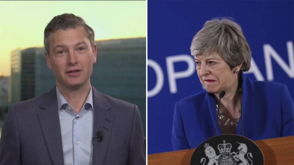 SVT:s SVT:s Europakorrespondent Christoffer Wendick och Storbritanniens premiärminister Theresa May.