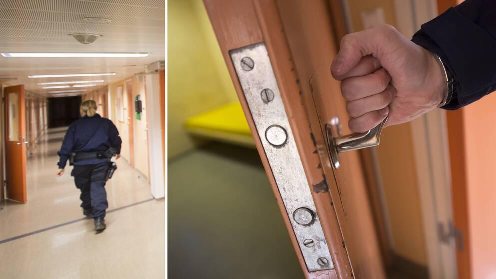 En person öppnar en arrestdörr och en polis som går i en korridor.