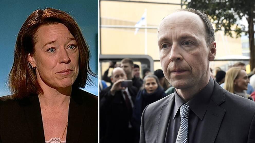 Åsa von Schoultz, professor i statsvetenskap vid Helsingfors Universitet, och Jussi Halla-aho, partiledare för Sannfinländarna.