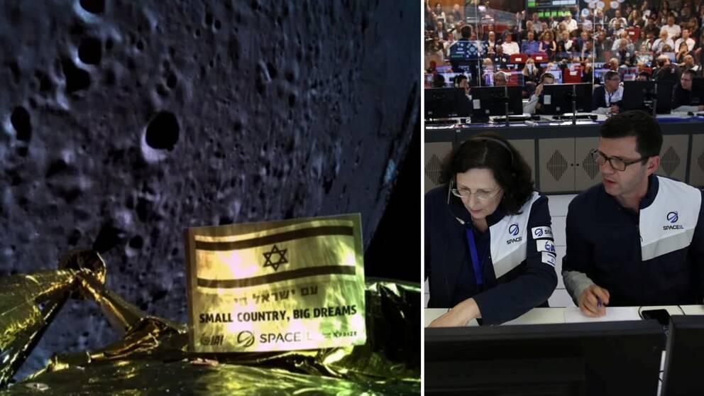 En bild från rymdfarkosten kort innan kraschlandningen på månen. Till höger kontrollrummet i Yahud i Israel där landningen skulle firas.