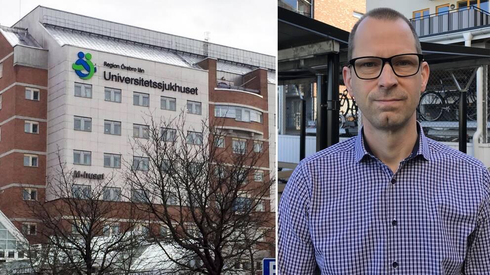 """Till vänster en bild på en av sjukhusets byggnader med texten """"Region Örebro län Universitetssjukhuset"""" skrivet på fasaden. Till höger en bild på läkaren Kristian Thörn. Blårutig skjorta och glasögon med svart ram."""