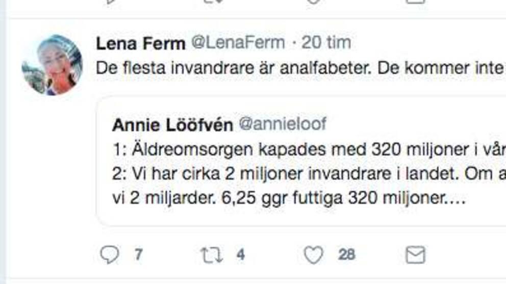 """Göteborgsmoderaten Lena Ferm skrev i ett inlägg på twitter: """"De flesta invandrare är analfabeter. Det kommer inte lösa ett skit..."""""""
