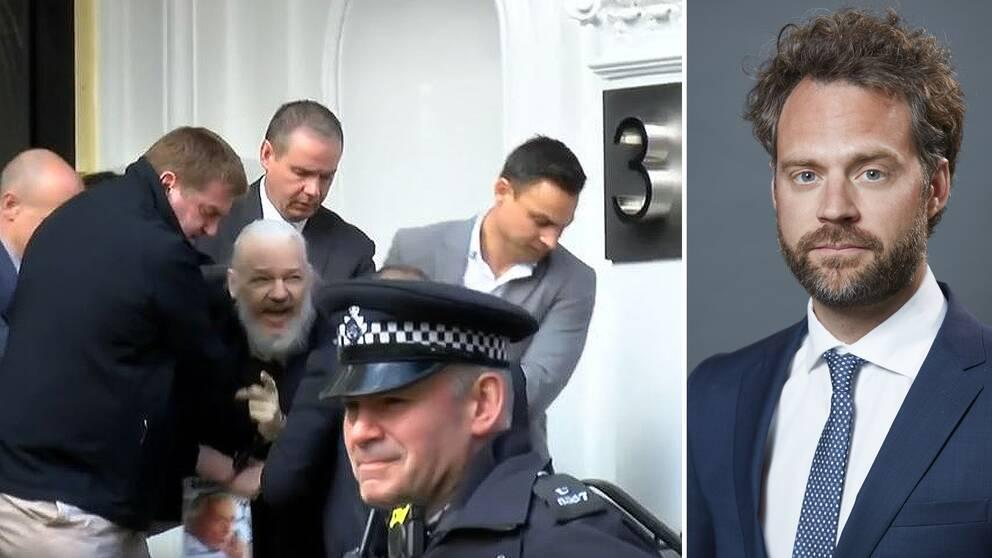 Julian Assange när han grips av brittisk polis på Ecuadors ambassad i London. Till höger: Mikael Wigell, docent vid Utrikespolitiska institutet i Tammerfors.