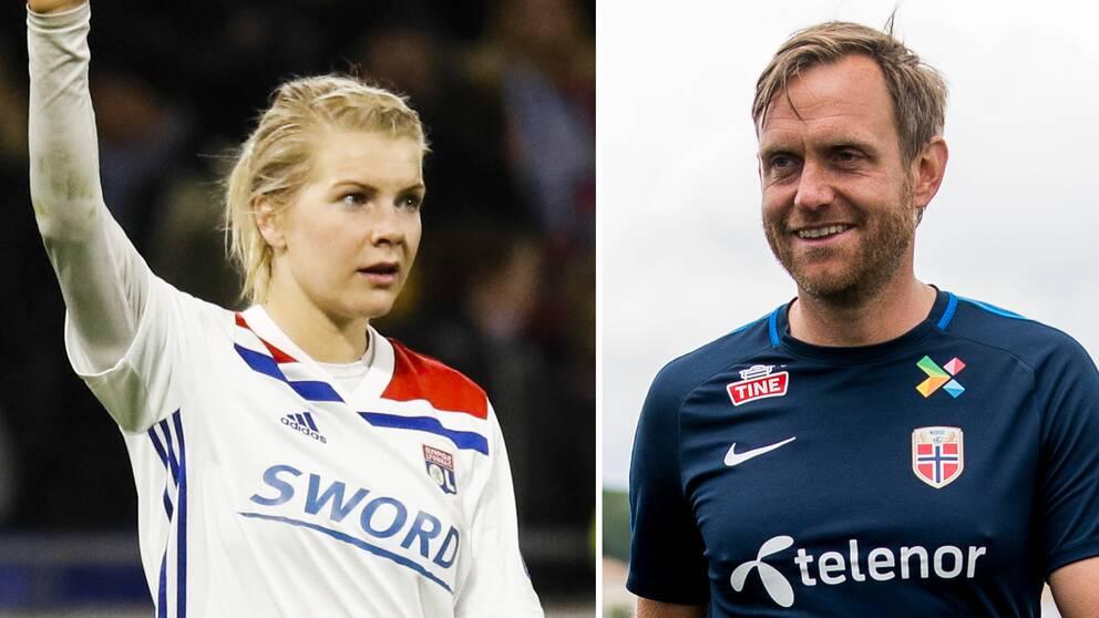 Norskan Ada Hegerberg och Norges svenska förbundskapten Martin Sjögren.