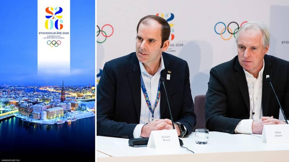 Sveriges OS-ansökan inskickad. Nu återstår omröstning av IOK den 24 juni. Till vänster SOK:s kampanjchef Richard Brisius och till höger Mats Olsson, presschef för Sveriges OS-kandidatur.