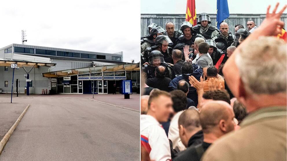 En bild på flygplatsen och en bild på polisen som försöker stoppa demonstranter i parlamentet.