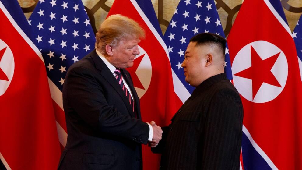USA:s president Donald Trump och Nordkorea-ledaren Kim Jong Un under toppmötet i Hanoi i februari i år.