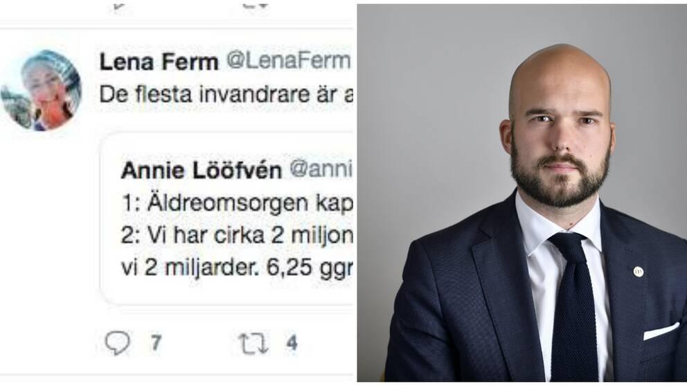 David Josefsson ordförande för Moderaterna i Göteborg, och en skärmdump av Lena Ferms inlägg på Twitter.