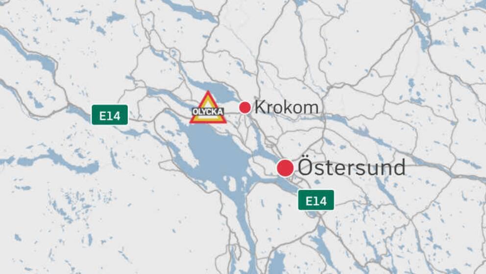 En karta över delar av Jämtland där Krokom, Östersund samt en symbol för en olycka finns placerade.