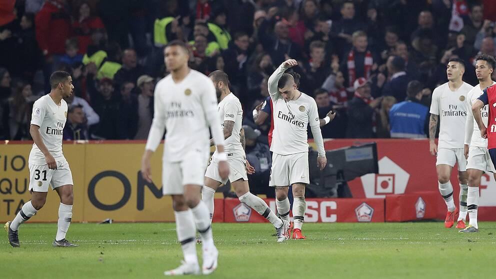 Verratti och övriga PSG-spelare deppar efter chockförlusten mot Lille, 1-5.
