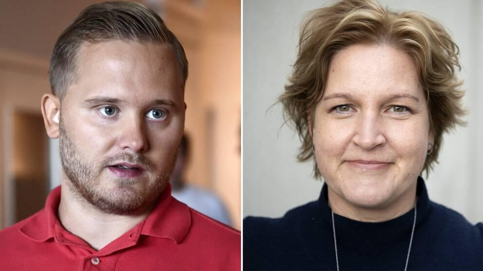 Sverigedemokraternas Henrik Vinge, samt Liberalernas Karin Karlsbro.