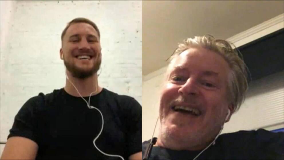 På bilden syns boxaren Otto Wallin och reportern Hans Lindblom som skrattar.