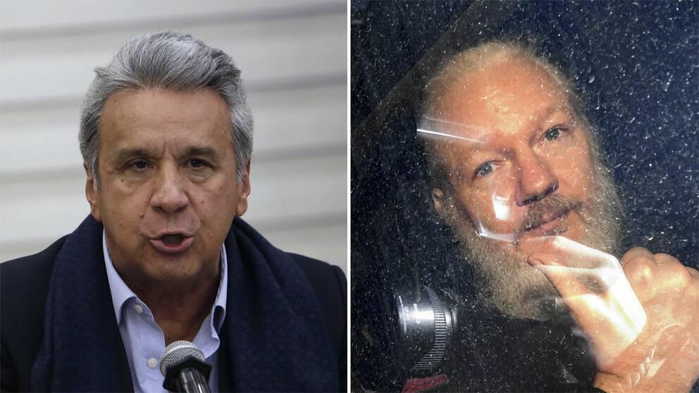 Ecuadors president Lenín Moreno och Wikileaksgrundaren Julian Assange i en polisbil efter att hans gripits i London.