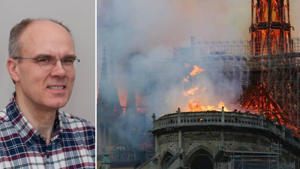 Enligt Håkan Frantzich är det sannolikt en takkonstruktion av trä som har fattat eld. Även om han beskriver det tragiska i att mycket riskerar att bli förstört tror han att byggnaden kommer kunna räddas.
