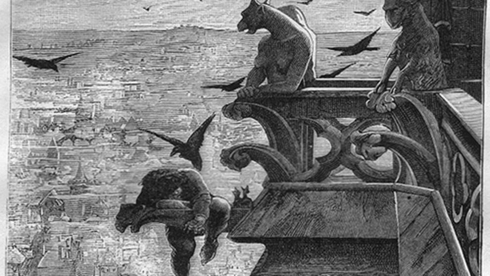 En scen uppifrån katedralen i romanen Ringaren i Notre Dame tecknades av Alfred Barbon 1881.