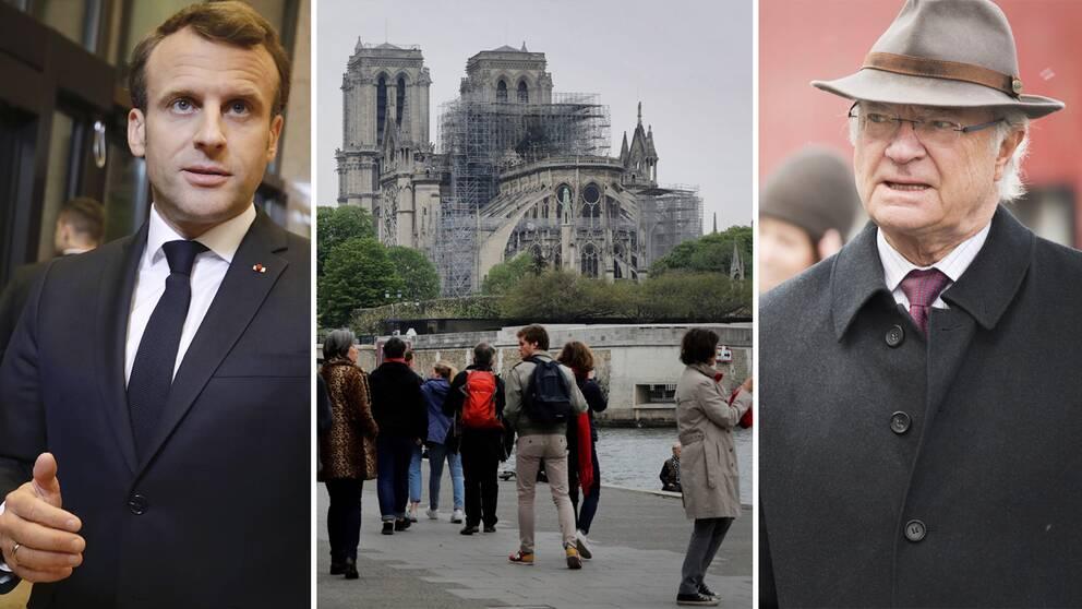 Frankrikes president Emmanuel Macron har fått ett telegram från Sveriges kung Carl XVI Gustaf efter branden i Notre-Dame