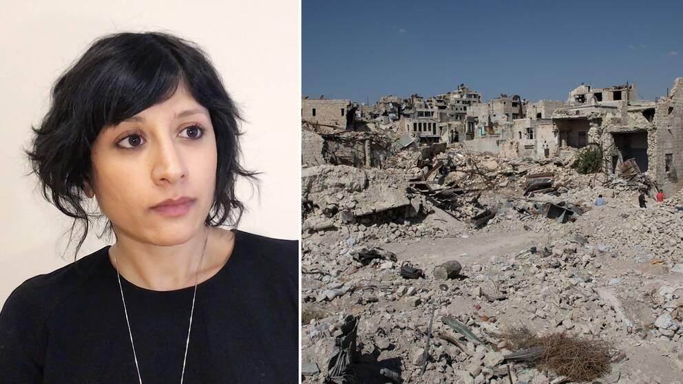 Reena Devgun samt en bild på Aleppos ruiner