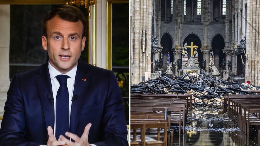 Frankrikes president Emmanuel Macron håller tal till nationen efter Notre-Dame-branden.