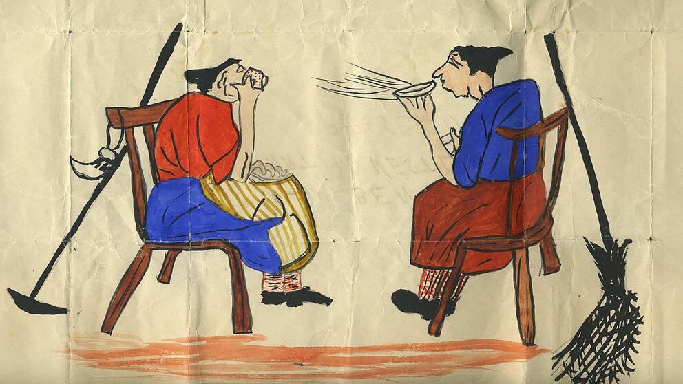 Teckning där två påskkärringar sitter på varsin stol och dricker kaffe med varsin kvast lutad mot stolsryggen.