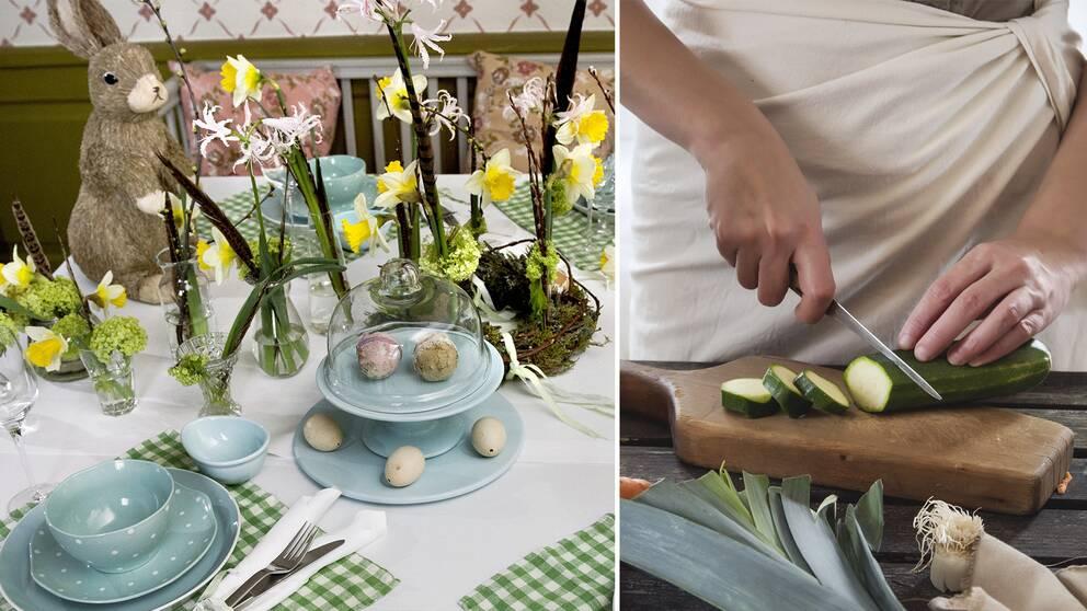Bild delad i två: På vänster sida ett bord dekorerad med påskliljor, fejka ägg och en påskhare. På höger sida, en person som skär en zucchini.