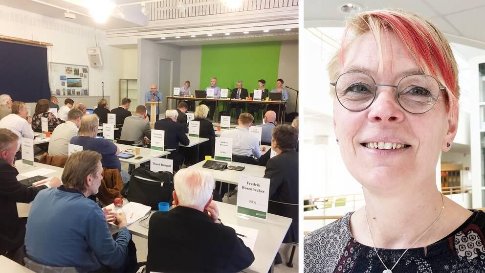 Delad bild. Till vänster kommunfullmäktige i Storå. Till höger ett proträtt av Agneta Blom, med glasögon, blont hår och röda slingor i luggen.